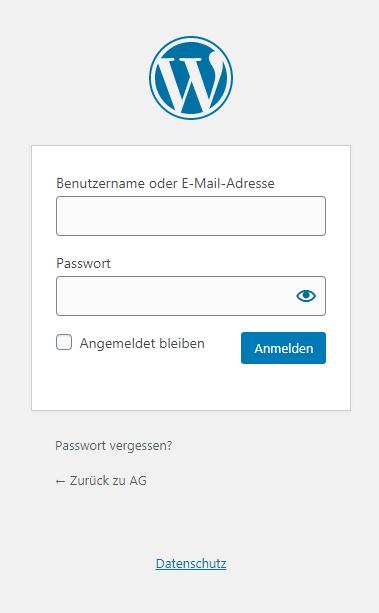 Screenshot: WordPress-anmeldeseite