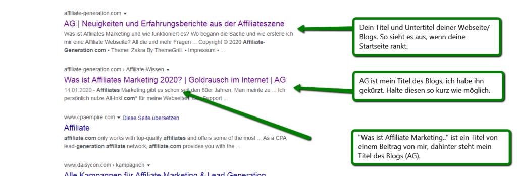 Affiliate Marketing Blog: Ansicht bei Google was den Titel und Untertitel