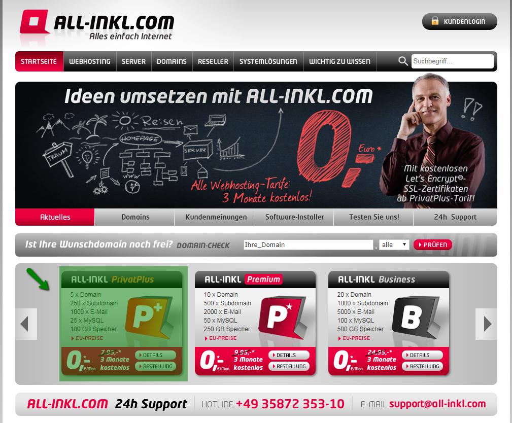 Screenshot: all-inkl-com