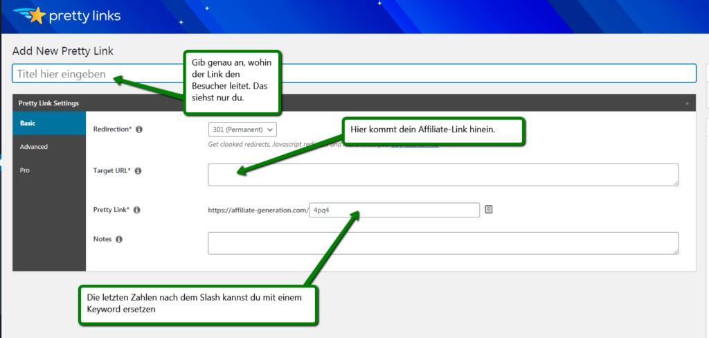 Screenshot: pretty-link für ein affiliate marketing blog nutzen