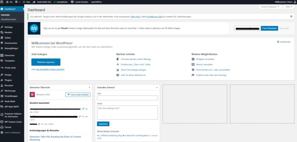 Screenshot: wordpress-dashboard