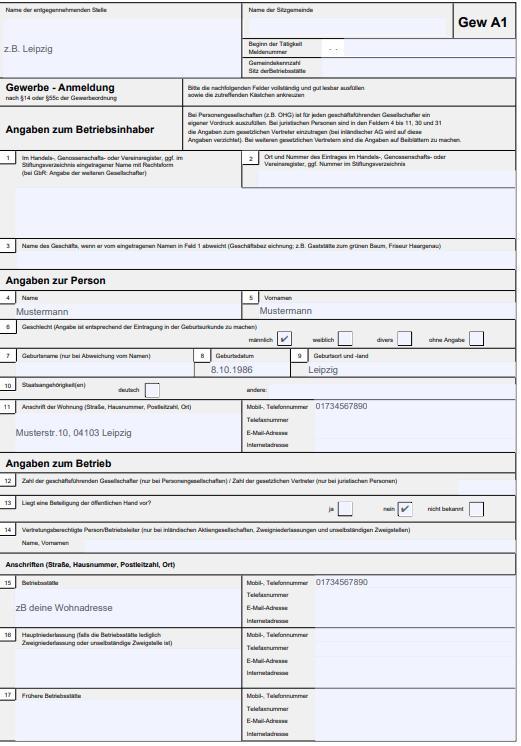 Screenshot eines PDF´s der Gewerbeanmeldung GewA1 - Erster Abschnitt