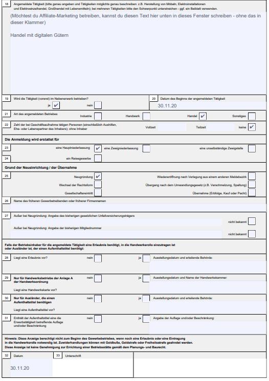 Screenshot eines PDF´s der Gewerbeanmeldung GewA1 - Zweiter Abschnitt