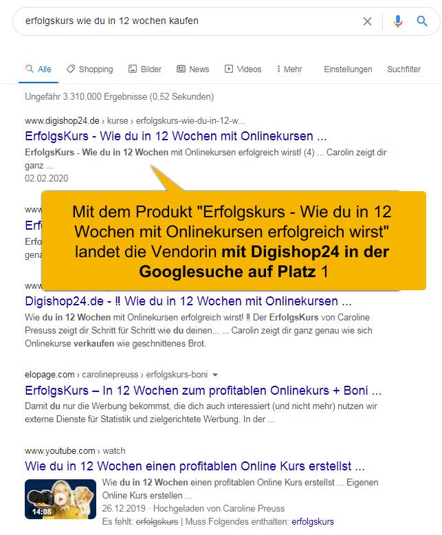 """Mit Digishop24 digitale Produkte verkaufen. Google Suche auf Platz 1 vom Produkt """"Erfolgskurs"""""""