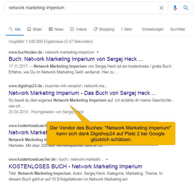 """Mit Digishop24 digitale Produkte verkaufen. Google Suche auf Platz 2 mit dem Produkt """"Network Marketing Imperium"""""""