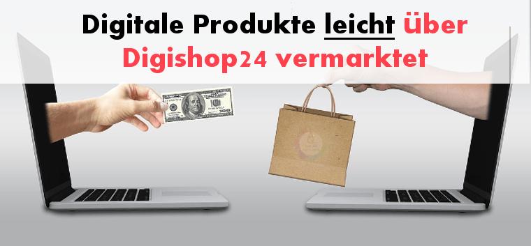 Digitale Produkte verkaufen über Digishop 24 und dabei 2 Laptops beim Handeln zeigen
